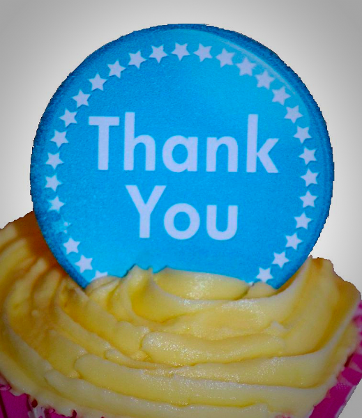 Edible cake toppers decoration - Thank you stars